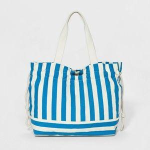 Striped Canvas Drawstring Tote Handbag